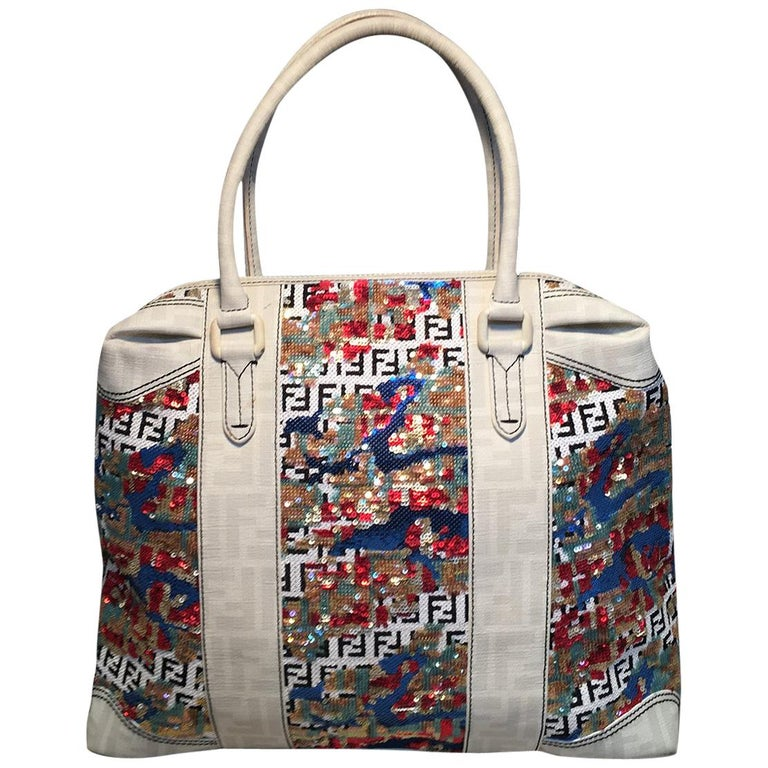 d938b0146df9 Fendi White Canvas and Multicolor Sequin Tote Bag For Sale at 1stdibs