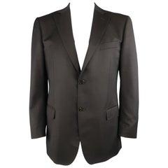 Z ZEGNA 42 Regular Brown Solid Wool Notch Lapel Sport Coat