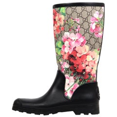 Gucci Ltd Edt Black/Floral Supreme Prato GG Blooms Rubber Rain Boots Sz 38