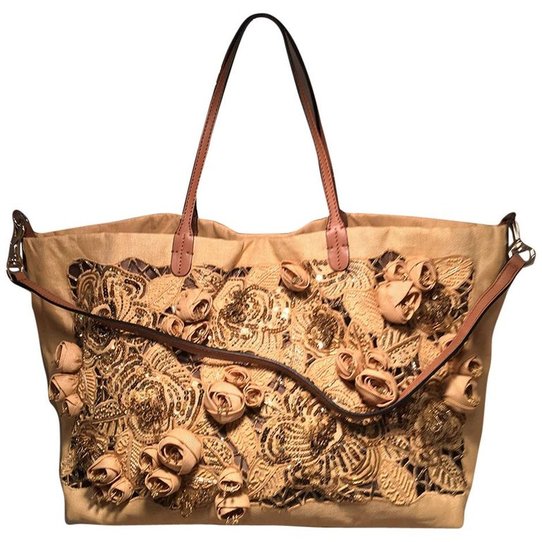 Valentino Beige Canvas Floral Sequin Tote Bag For Sale