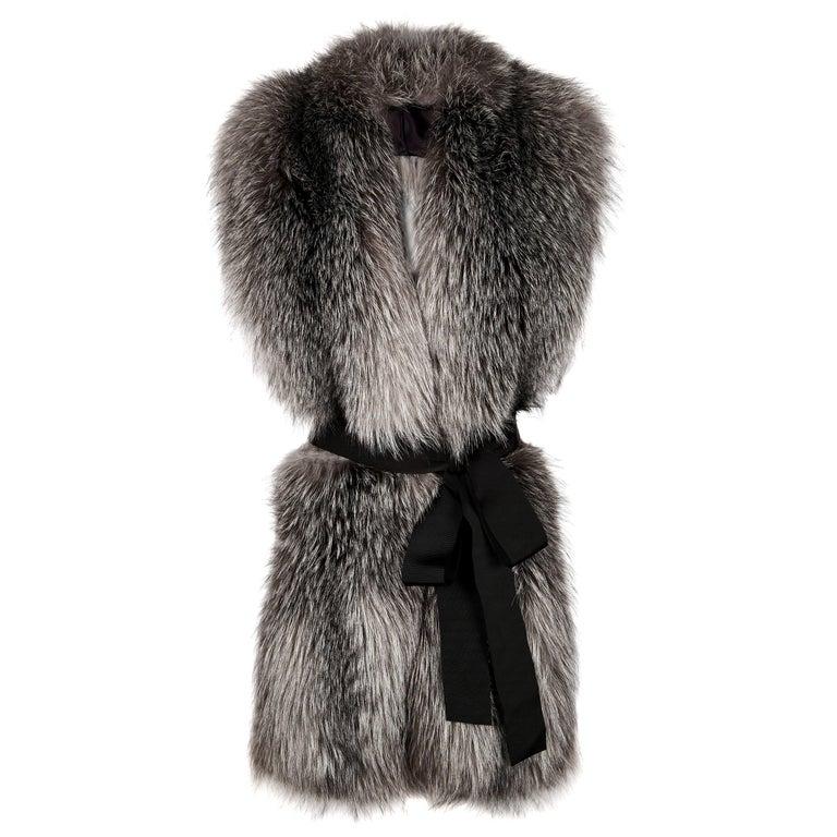 Verheyen London Legacy Stole Natural Blue Frost Fox Fur & Silk Lining -Brand New For Sale
