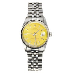 Rolex Vtg 1971 Stainless Steel Oyster Perpetual Date Just Watch W/ Yellow Face