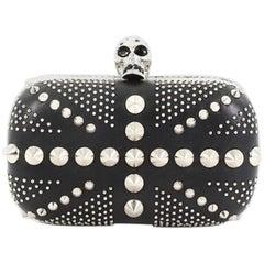 Alexander McQueen Britannia Skull Box Clutch Studded Leather Small