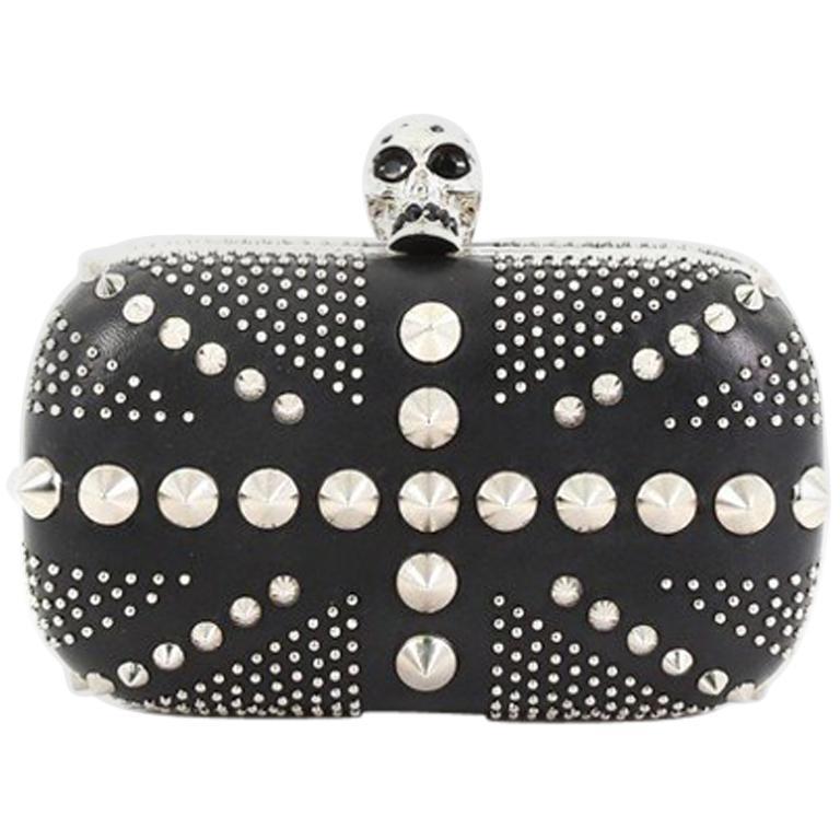 Alexander McQueen Britannia Skull Box Clutch Studded Leather Small For Sale
