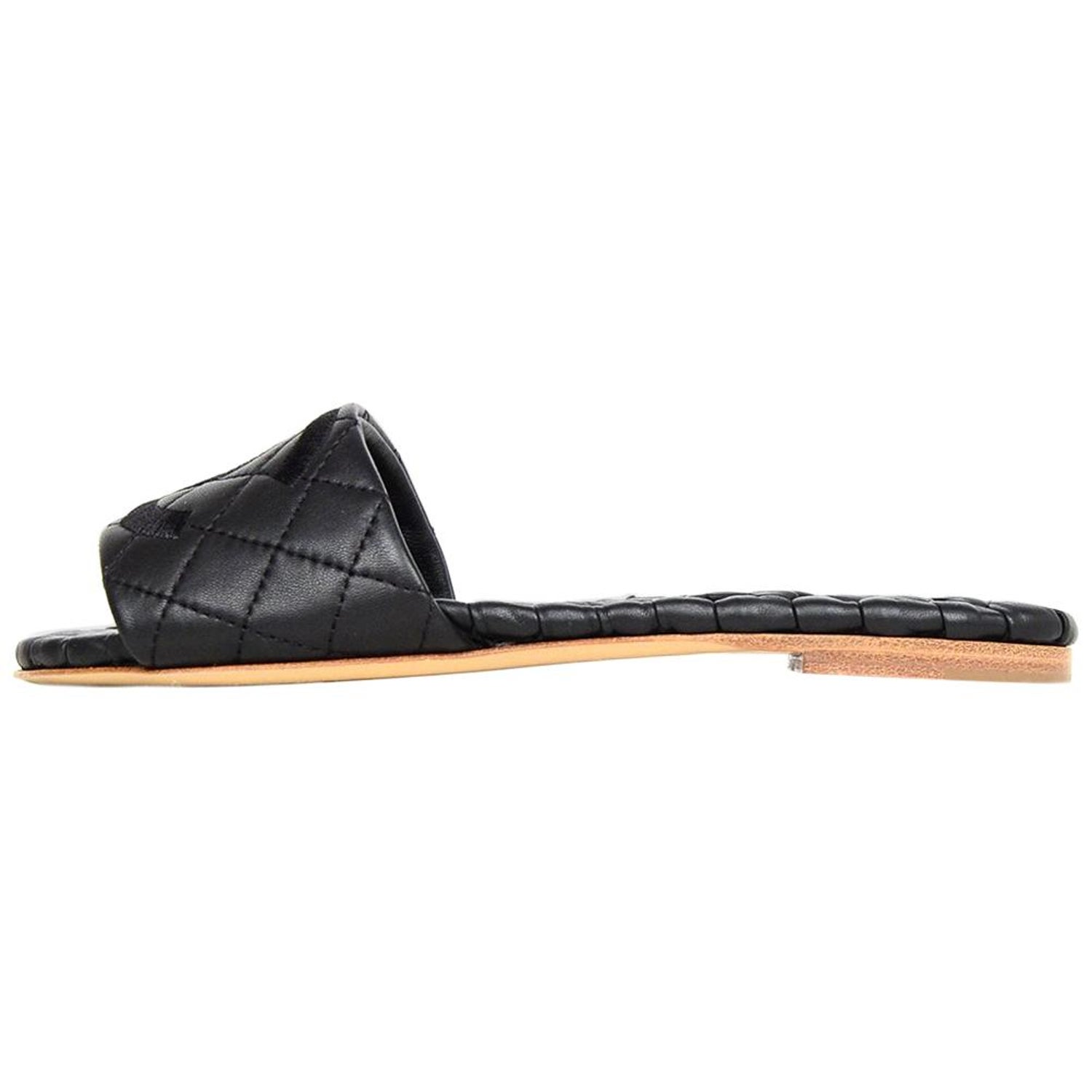 dc73c613e78 Chanel Black Leather Quilted Slipper Slide Sandals W  Embroidered CC Sz 36.5 C For Sale at 1stdibs