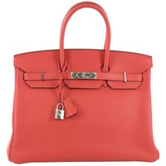 Hermes Birkin Handbag Rouge Pivoine Clemence with Palladium Hardware 35