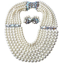 Schiaparelli Dramatic Multi Strand Faux Pearl Necklace & Earring Set c 1960
