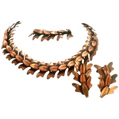 1950's Modernist Copper Necklace, Earrings & Bracelet By, Rebajes