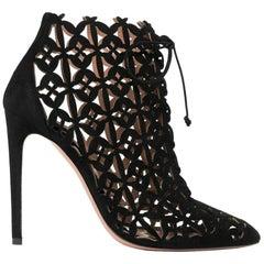 Azzedine Alaïa Laser-Cut Suede Ankle Boots