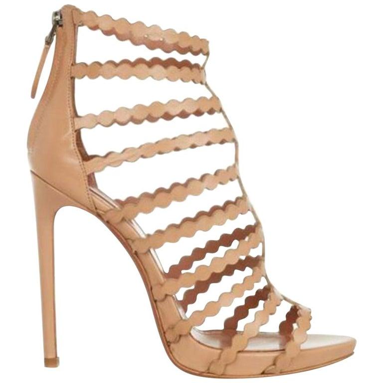 Azzedine Alaïa Laser-Cut Leather Sandals  For Sale