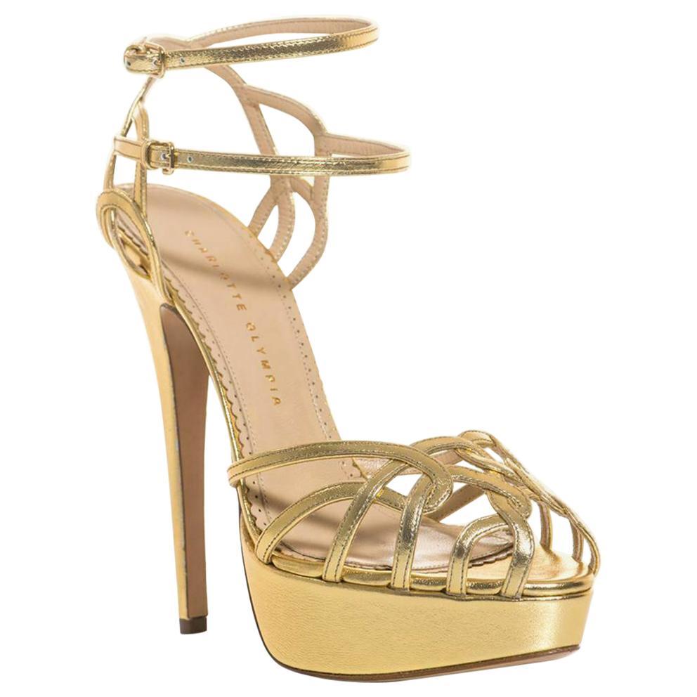 Charlotte Olympia Ursula Metallic Leather Sandals