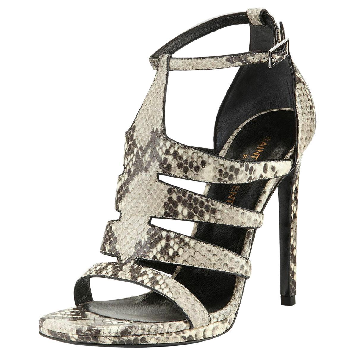 Saint Laurent Python-Print Cutout Sandals