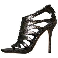 Gucci Metallic Snakeskin Cutout Sandals