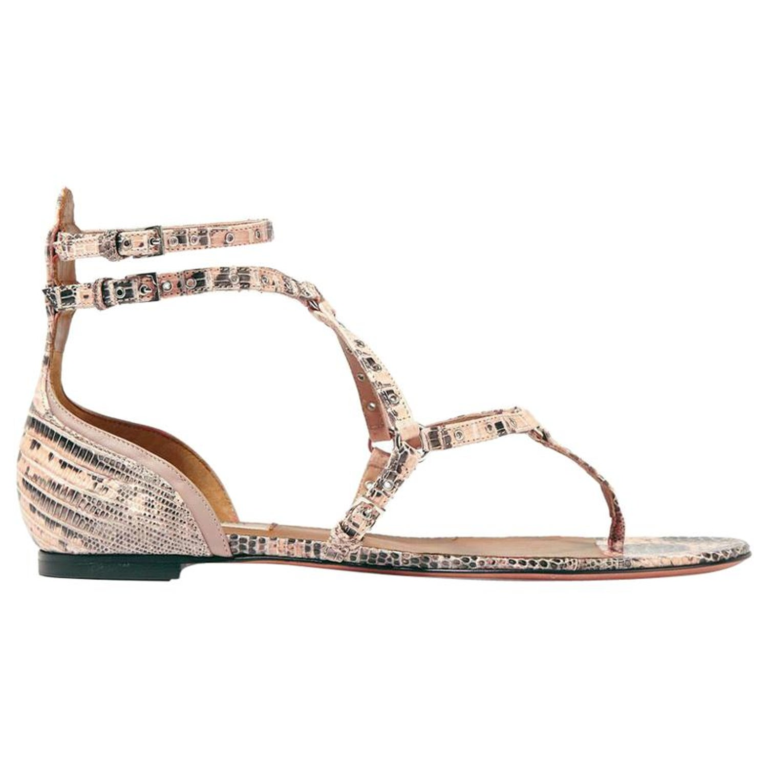 13059abe5cbc Valentino Love Latch Eyelet Embellished Lizard Sandals For Sale at 1stdibs
