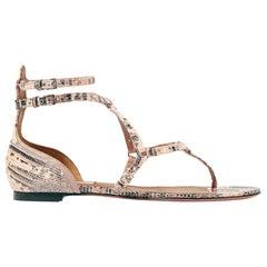 Valentino Love Latch Eyelet Embellished Lizard Sandals