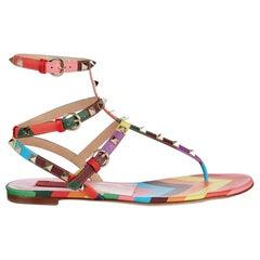 Valentino 1973 Rainbow Rockstud Leather Sandals