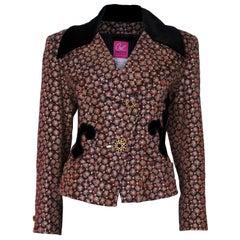 A vintage 1980s Christian Lacroix Velvet Collared Brocarde Jacket