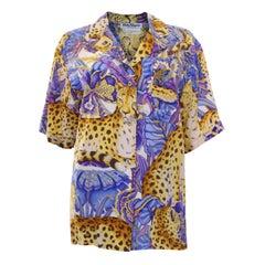 A vintage 1980s Salvatore Ferragamo Short sleeved silk shirt