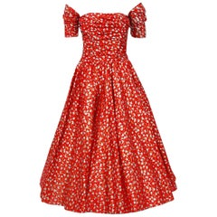 1950's Fred Perlberg Red Atomic Print Metallic Silk Ruched Circle-Skirt Dress