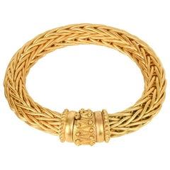 La Pepita Bracelet 18k Matte Yellow Gold Wheat Weave