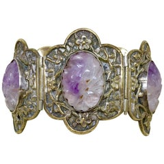 Circa 1930s Chinese Floral Brass and Carved Amethyst Bracelet