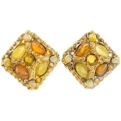 Kalinger Paris Clip on Earrings Gilt Metal Resin SeaShell and Sunny Cabochon