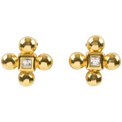 Yves Saint Laurent Paris Clover Clip Earrings Gilt Metal & Glass Rhinestone