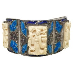 Circa 1940 Chinese Sterling, Enamel and Ox Bone Bracelet