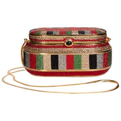 Judith Leiber Red Green Gold Crystal Box Minaudiere Evening Bag