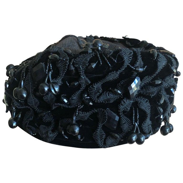 bd37ef01da6 Christian Dior Chapeaux Embellished Vintage 1950 Black Pillbox Hat Jet  Cherries For Sale