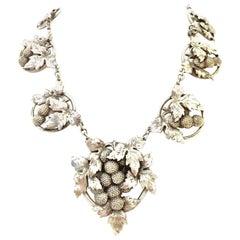 Antique Sterling Silver Georg Jensen Style Art Nouveau Grape Bunch Necklace
