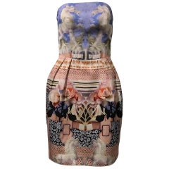 Mary Katrantzou Peony Porcelain Horse Print Strapless Dress, US Size 6