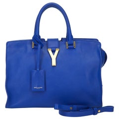 YSL Blue Leather Cabas Y Satchel