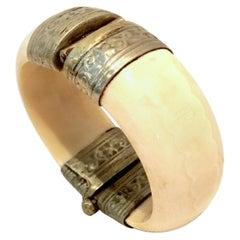 20th Century Silver Plate & Bone Hinge Bangle Bracelet