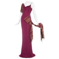 Christian Dior by John Galliano fuchsia silk embroidered evening dress, A/W 1999