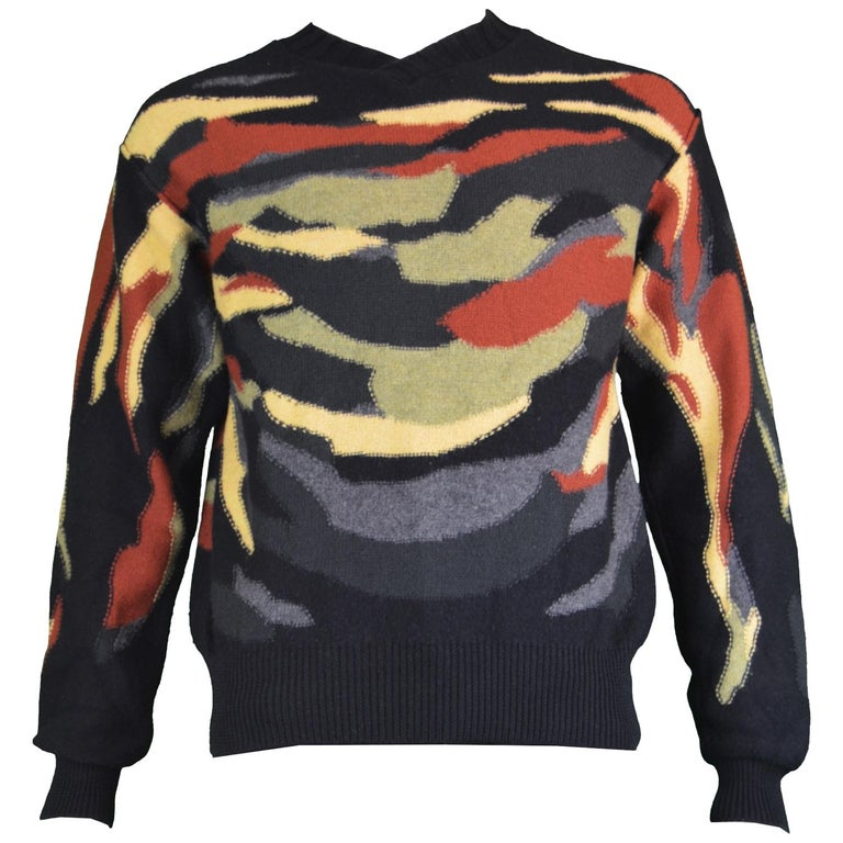 7097be76d89 Sonia Rykiel Homme Vintage Mens Black Wool Multicoloured Camouflage Sweater  For Sale