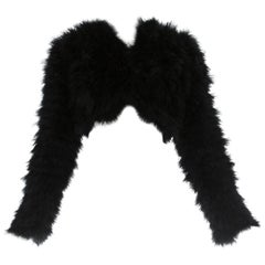 Dolce & Gabbana black marabou bolero jacket, A/W 1999