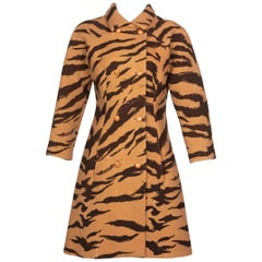Hubert de Givenchy Haute Couture Coat Tiger Print Coat , 1969