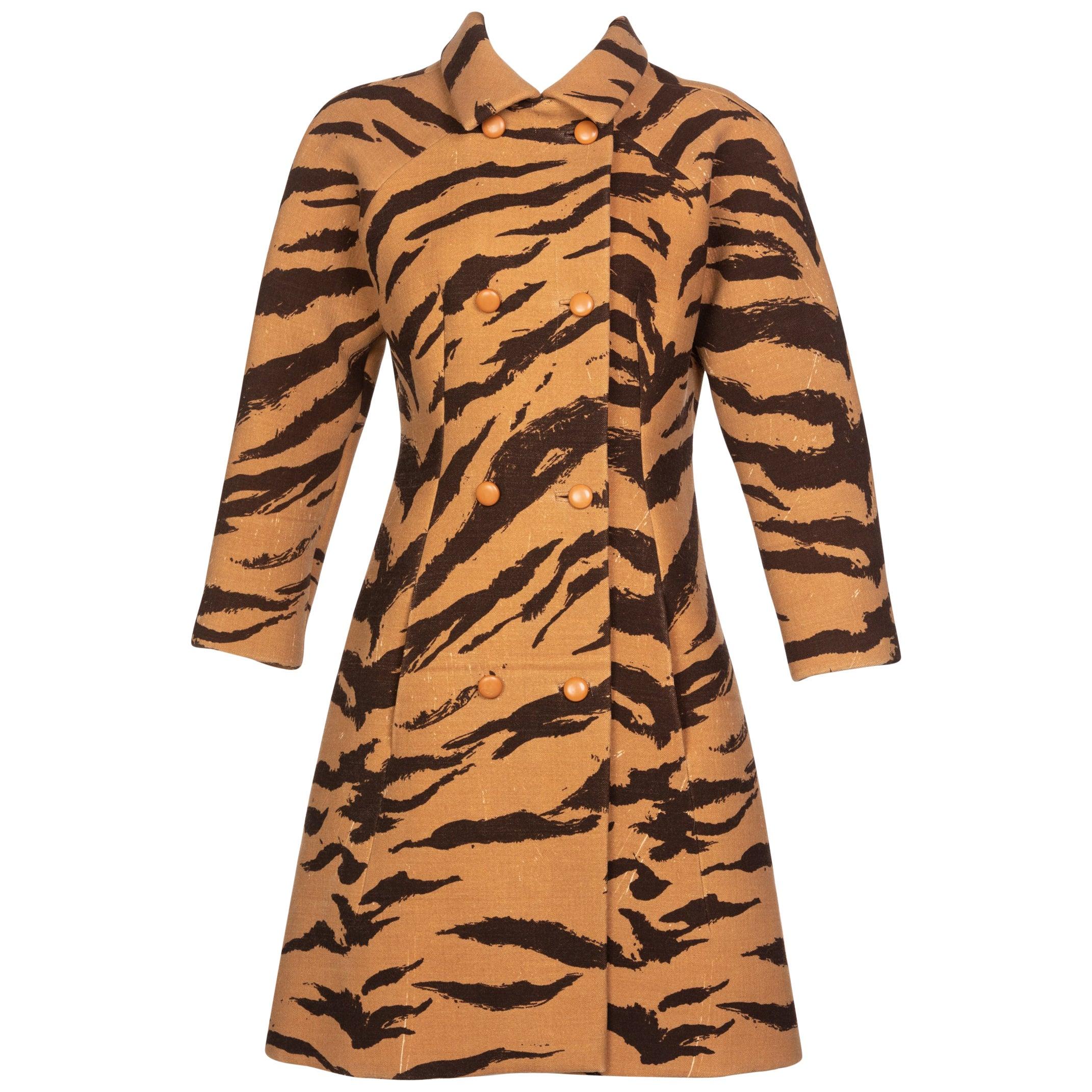 Hubert de Givenchy Haute Couture Coat Tiger Print Coat , 1969