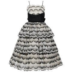 1950's Flocked Deco-Dots Ivory Chiffon Cummberbund Bow Scalloped Party Dress