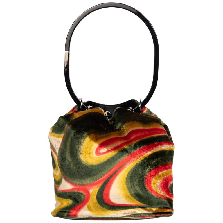 ef3198150a49 Gucci by Tom Ford Runway Psychedelic Swirl Silk Velvet Hoop Bucket Bag,  1990s For Sale