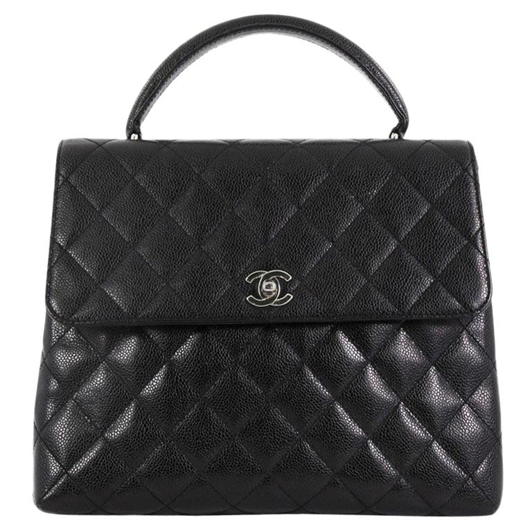 7b380f49ad6d Chanel Vintage Classic Top Handle Flap Bag Quilted Caviar Jumbo For Sale
