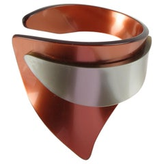 French Artisan Studio Space Age Gray & Pumpkin Lucite Sculptural Cuff Bracelet