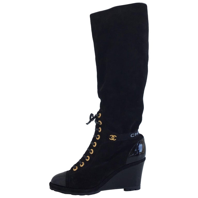d9381c183018 Chanel Black Suede and Patent Knee Boots