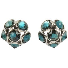 Yves Saint Laurent Paris Signed Clip-on Earrings Aqua Blue Faceted Rhinestones