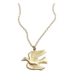 18K Gold And Diamond Flying Dove Pendant Necklace