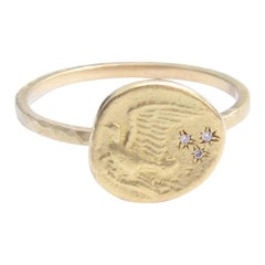 Dove Flying In Stars 18K Gold and Diamond Ring