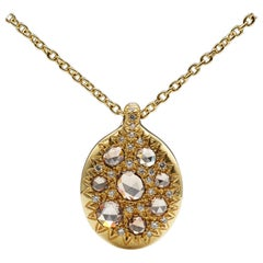Brown Rose Cut Pave Diamond 18K Gold Necklace One of a Kind