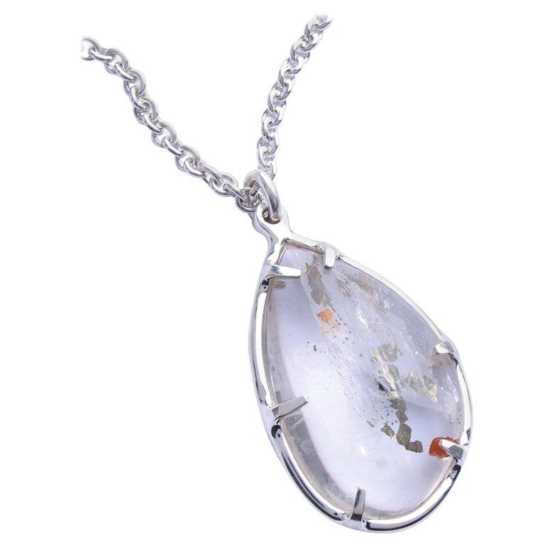 Large Pyrite Quartz Silver Pendant Necklace For Sale