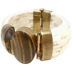 1970'S Gilt Brass Carved Bone & Tigers Eye Hinge Bangle Bracelet